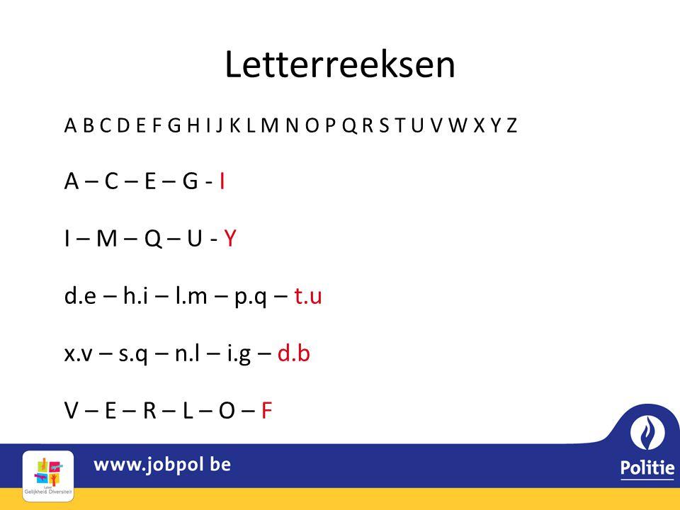 Letterreeksen A B C D E F G H I J K L M N O P Q R S T U V W X Y Z A – C – E – G - I I – M – Q – U - Y d.e – h.i – l.m – p.q – t.u x.v – s.q – n.l – i.