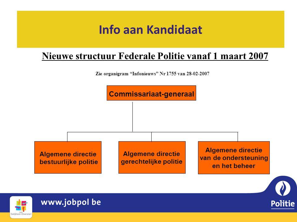 Info aan Kandidaat Nieuwe structuur Federale Politie vanaf 1 maart 2007 Commissariaat-generaal Algemene directie van de ondersteuning en het beheer Al