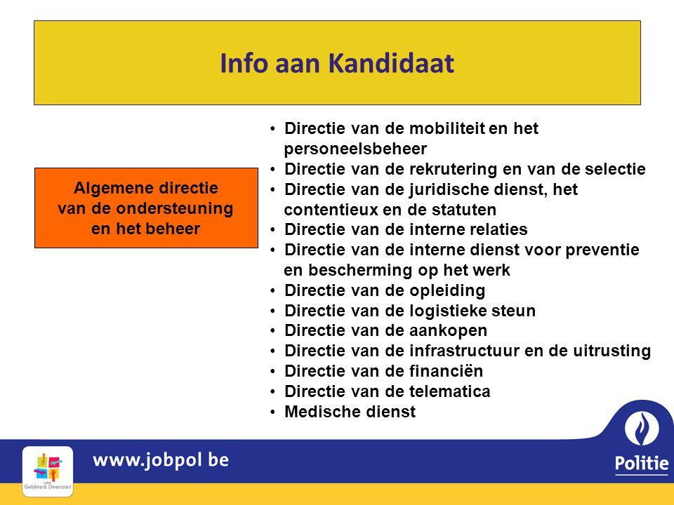Info aan Kandidaat Algemene directie van de ondersteuning en het beheer • Directie van de mobiliteit en het personeelsbeheer • Directie van de rekrute
