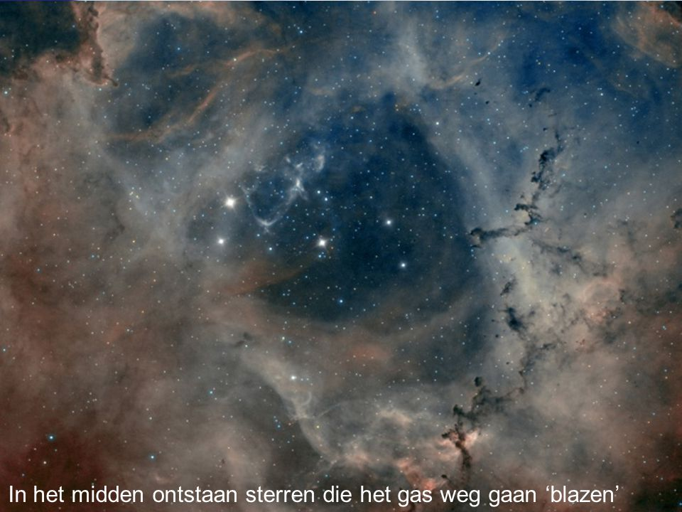 In het midden ontstaan sterren die het gas weg gaan 'blazen'