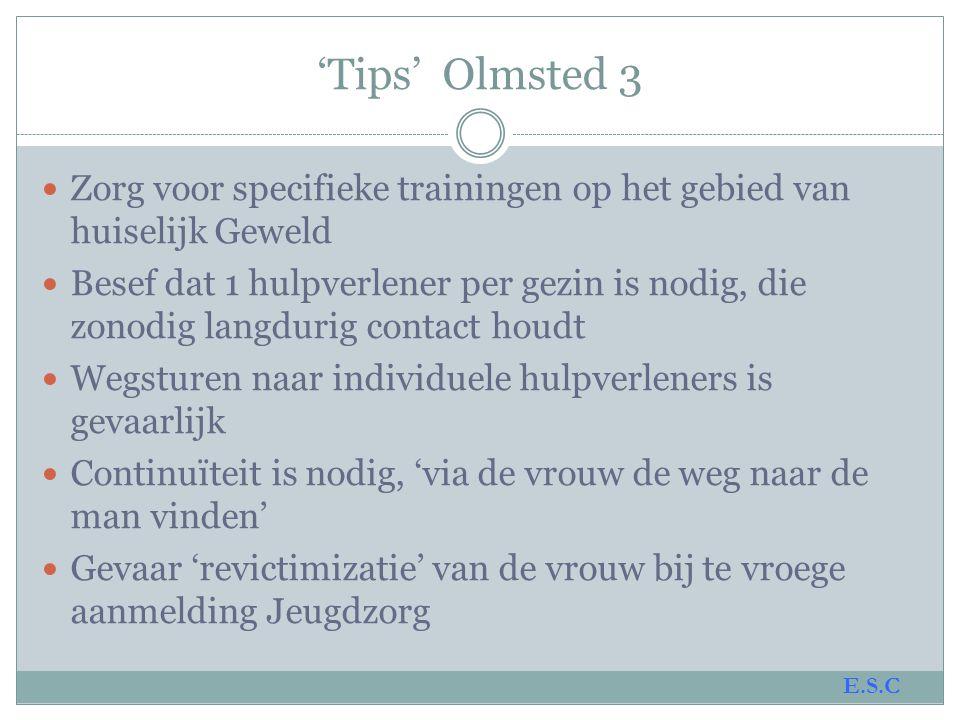 'Tips' Olmsted 4  Een goed veiligheidsplan maken en testen kost 3-4 maanden.