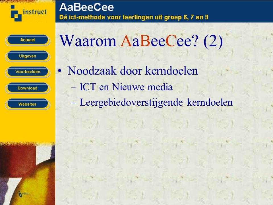 Waarom AaBeeCee? (2) •Noodzaak door kerndoelen –ICT en Nieuwe media –Leergebiedoverstijgende kerndoelen