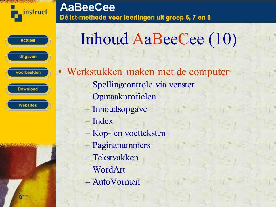 Inhoud AaBeeCee (10) •Werkstukken maken met de computer –Spellingcontrole via venster –Opmaakprofielen –Inhoudsopgave –Index –Kop- en voetteksten –Paginanummers –Tekstvakken –WordArt –AutoVormen