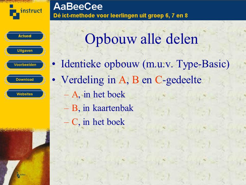 Opbouw alle delen •Identieke opbouw (m.u.v. Type-Basic) •Verdeling in A, B en C-gedeelte –A, in het boek –B, in kaartenbak –C, in het boek