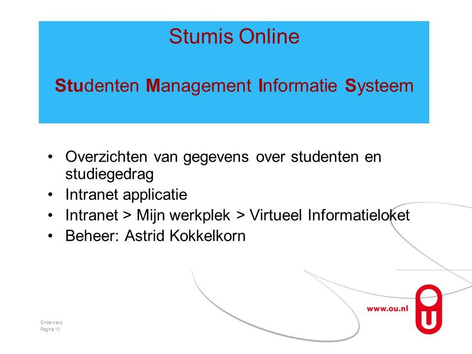 •Overzichten van gegevens over studenten en studiegedrag •Intranet applicatie •Intranet > Mijn werkplek > Virtueel Informatieloket •Beheer: Astrid Kok