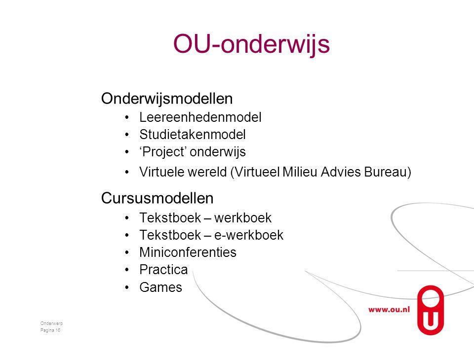 OU-onderwijs Onderwijsmodellen •Leereenhedenmodel •Studietakenmodel •'Project' onderwijs •Virtuele wereld (Virtueel Milieu Advies Bureau) Cursusmodell