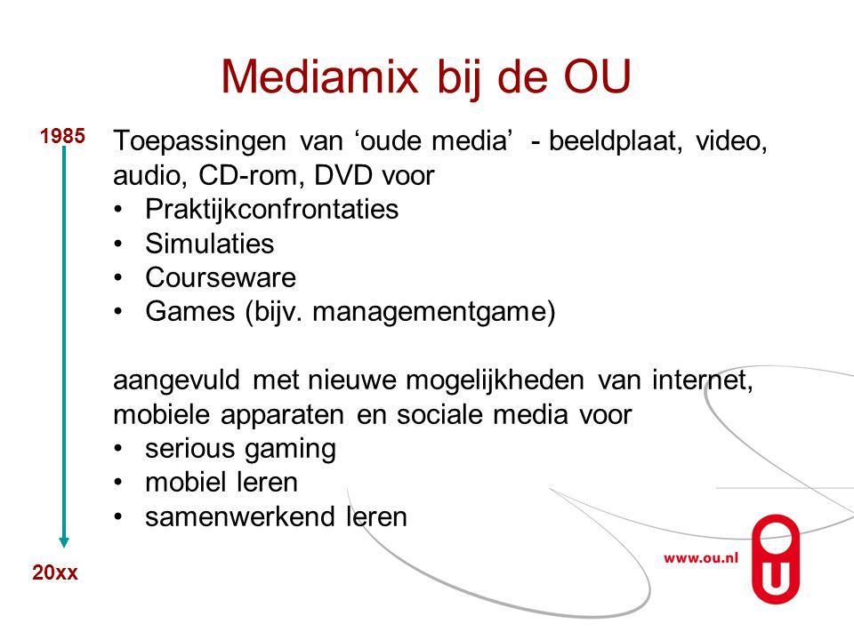 Mediamix bij de OU Toepassingen van 'oude media' - beeldplaat, video, audio, CD-rom, DVD voor •Praktijkconfrontaties •Simulaties •Courseware •Games (b