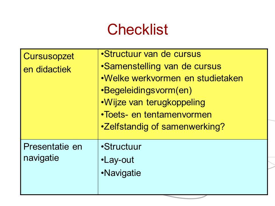 Checklist Onderwerp Pagina 35 Cursusopzet en didactiek •Structuur van de cursus •Samenstelling van de cursus •Welke werkvormen en studietaken •Begelei