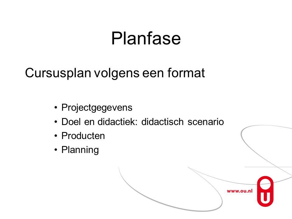 Planfase Cursusplan volgens een format •Projectgegevens •Doel en didactiek: didactisch scenario •Producten •Planning
