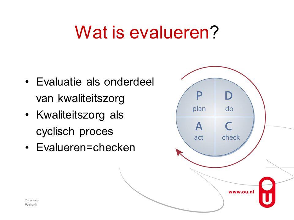 Wat is evalueren? •Evaluatie als onderdeel van kwaliteitszorg •Kwaliteitszorg als cyclisch proces •Evalueren=checken Onderwerp Pagina 61
