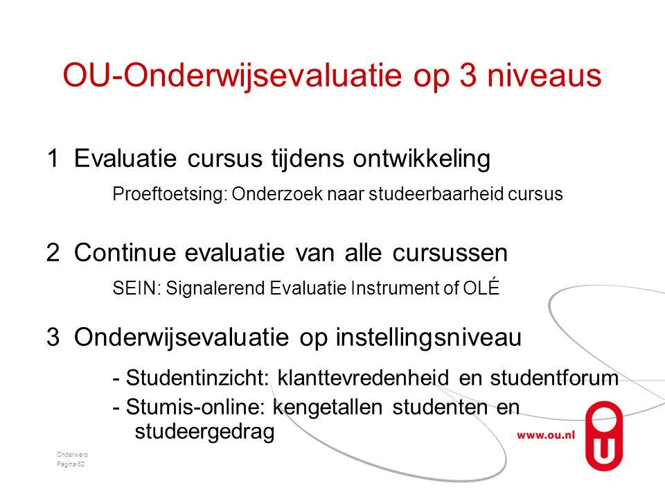 OU-Onderwijsevaluatie op 3 niveaus 1Evaluatie cursus tijdens ontwikkeling Proeftoetsing: Onderzoek naar studeerbaarheid cursus 2Continue evaluatie van