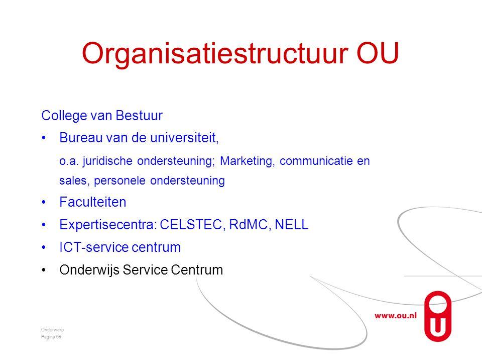 Organisatiestructuur OU College van Bestuur •Bureau van de universiteit, o.a. juridische ondersteuning; Marketing, communicatie en sales, personele on