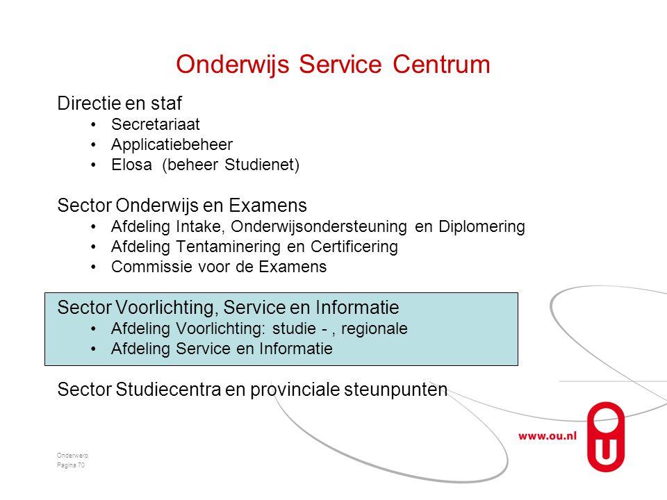 Onderwijs Service Centrum Directie en staf •Secretariaat •Applicatiebeheer •Elosa (beheer Studienet) Sector Onderwijs en Examens •Afdeling Intake, Ond