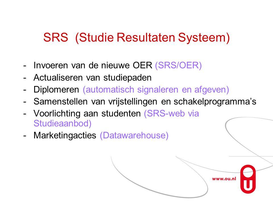 SRS (Studie Resultaten Systeem) -Invoeren van de nieuwe OER (SRS/OER) -Actualiseren van studiepaden -Diplomeren (automatisch signaleren en afgeven) -S