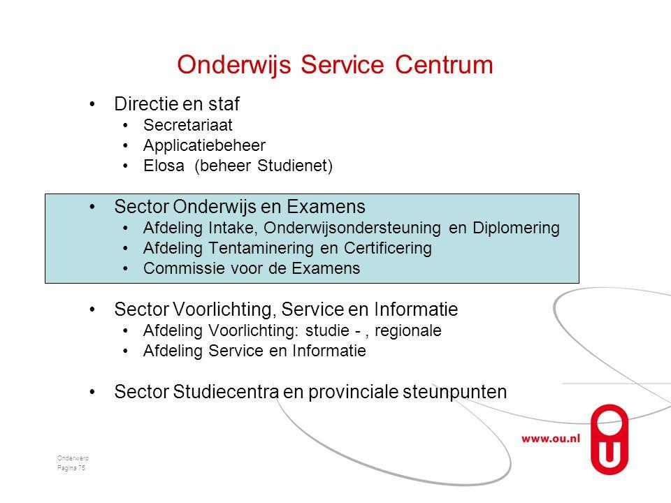Onderwijs Service Centrum •Directie en staf •Secretariaat •Applicatiebeheer •Elosa (beheer Studienet) •Sector Onderwijs en Examens •Afdeling Intake, O
