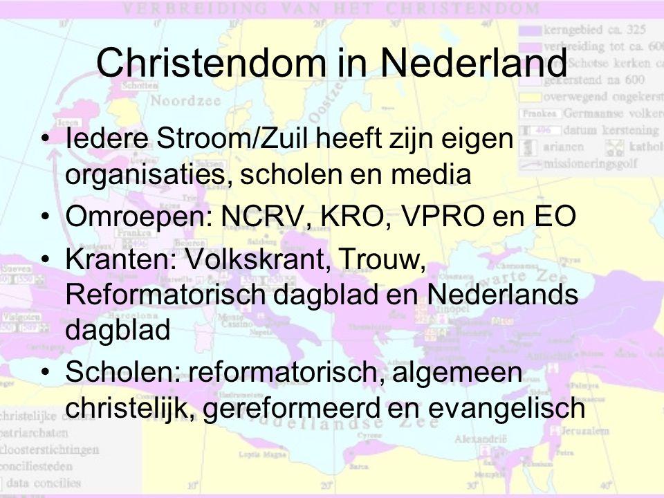 Christendom in Nederland •Iedere Stroom/Zuil heeft zijn eigen organisaties, scholen en media •Omroepen: NCRV, KRO, VPRO en EO •Kranten: Volkskrant, Tr