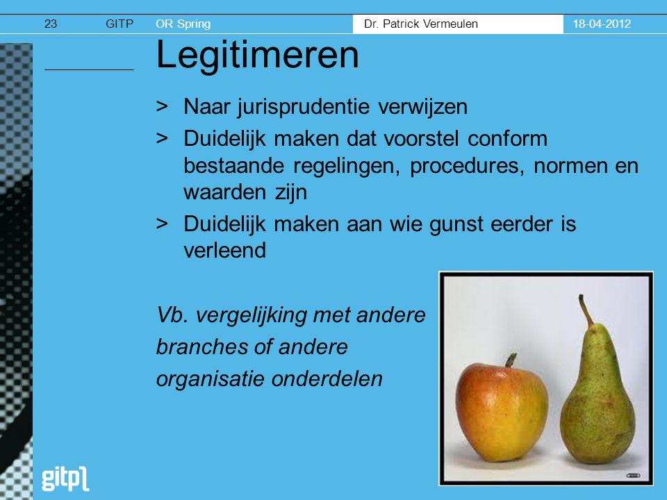 GITPOR Spring Dr. Patrick Vermeulen 18-04-201223 Legitimeren >Naar jurisprudentie verwijzen >Duidelijk maken dat voorstel conform bestaande regelingen