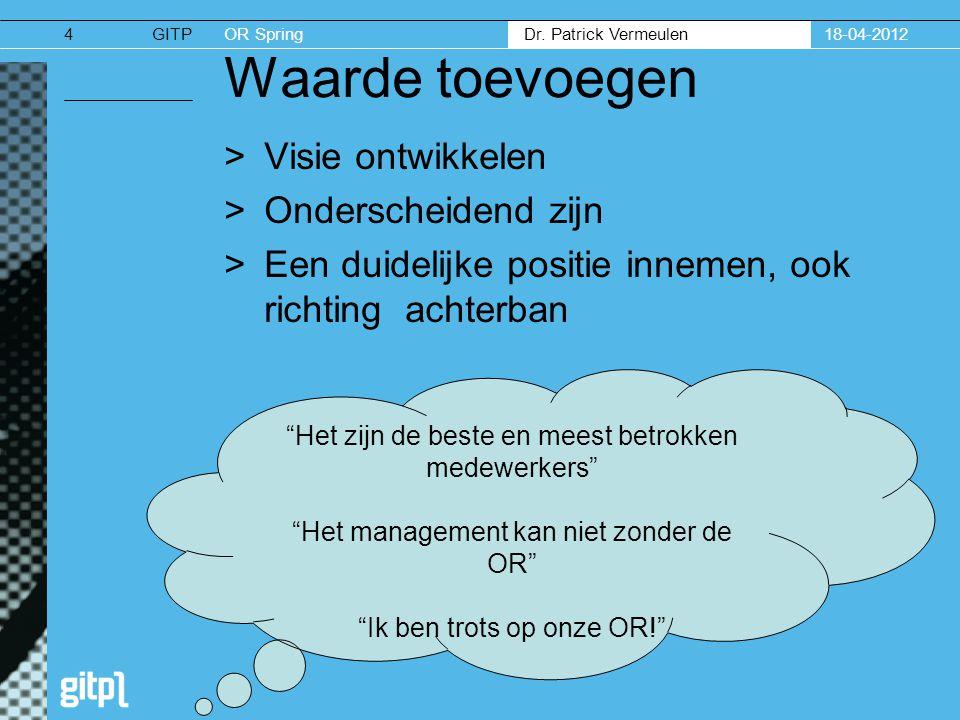 GITPOR Spring Dr. Patrick Vermeulen 18-04-20124 Waarde toevoegen >Visie ontwikkelen >Onderscheidend zijn >Een duidelijke positie innemen, ook richting