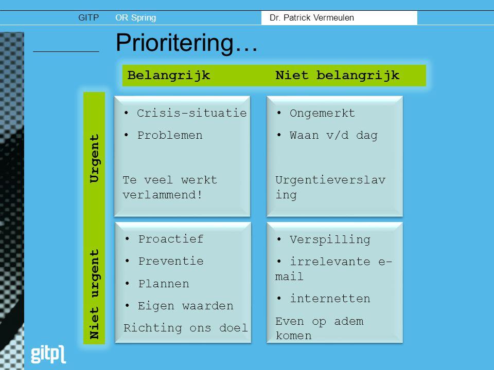 GITPOR Spring Dr. Patrick Vermeulen Prioritering… BelangrijkNiet belangrijk Niet urgent Urgent • Crisis-situatie • Problemen Te veel werkt verlammend!