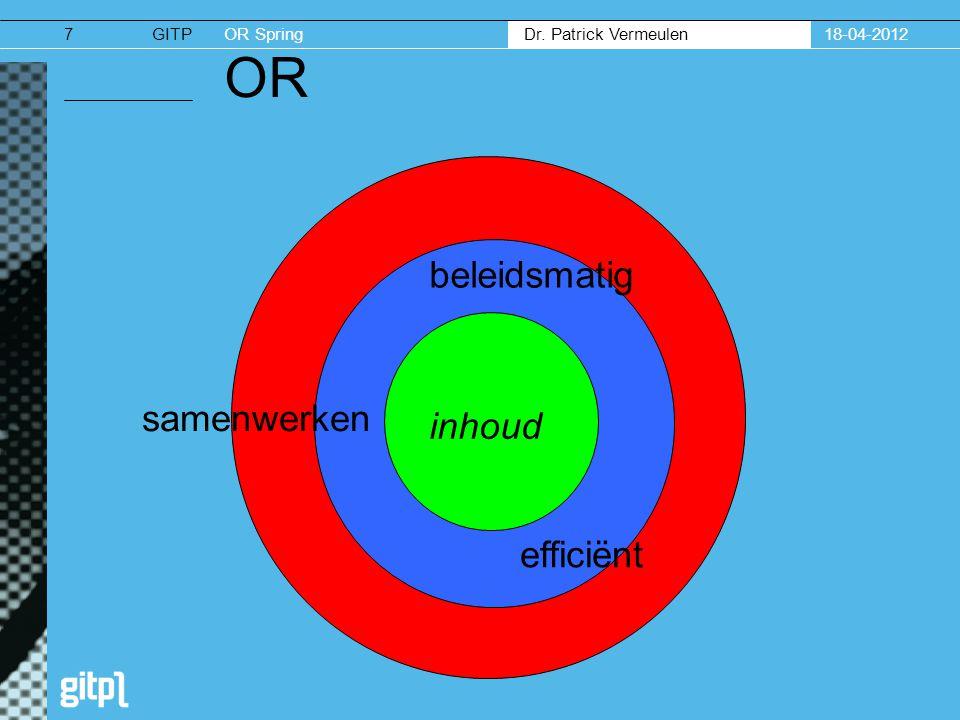 GITPOR Spring Dr.Patrick Vermeulen 18-04-201218 Onderhandelen, o.a.