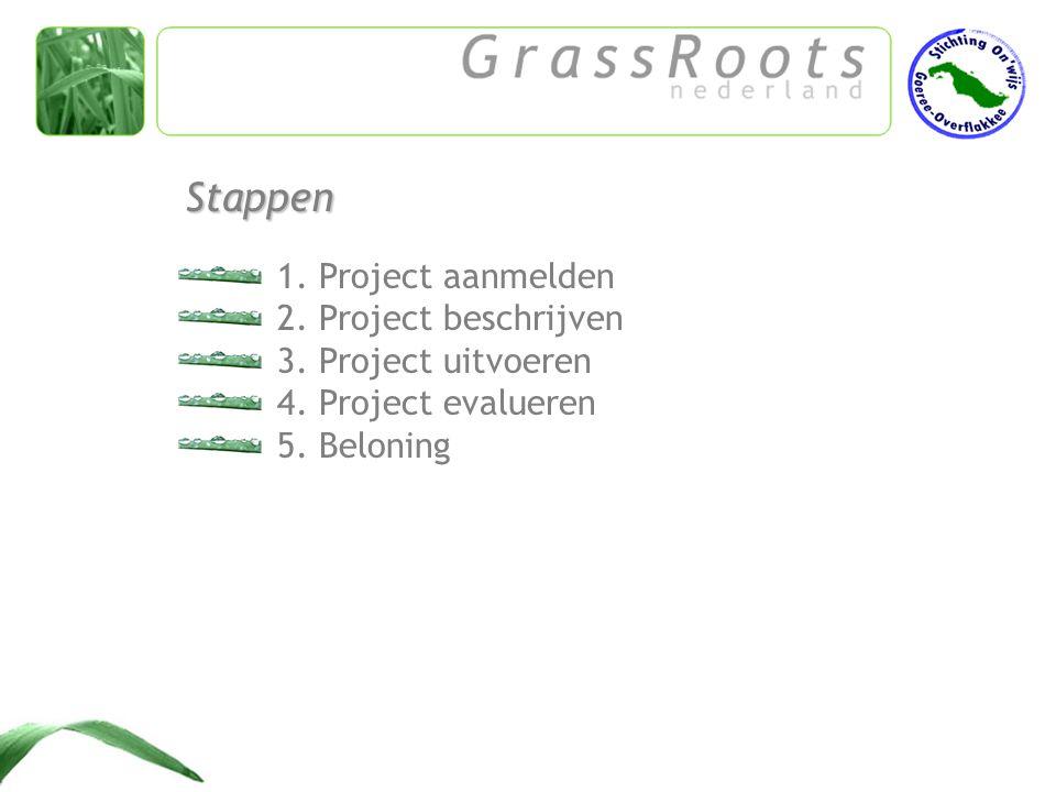 1.Project aanmelden 2. Project beschrijven 3. Project uitvoeren 4.
