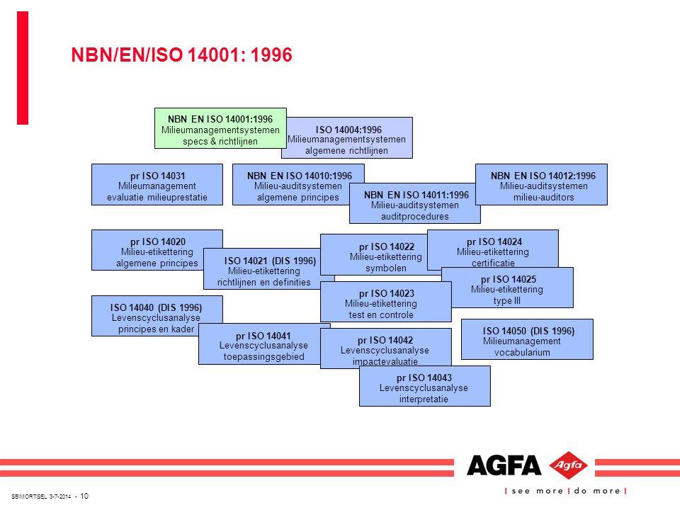 SB\MORTSEL 3-7-2014 - 10 ISO 14004:1996 Milieumanagementsystemen algemene richtlijnen NBN EN ISO 14001:1996 Milieumanagementsystemen specs & richtlijn
