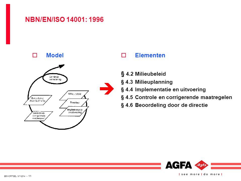 SB\MORTSEL 3-7-2014 - 11 oElementen § 4.2Milieubeleid § 4.3Milieuplanning § 4.4Implementatie en uitvoering § 4.5Controle en corrigerende maatregelen §