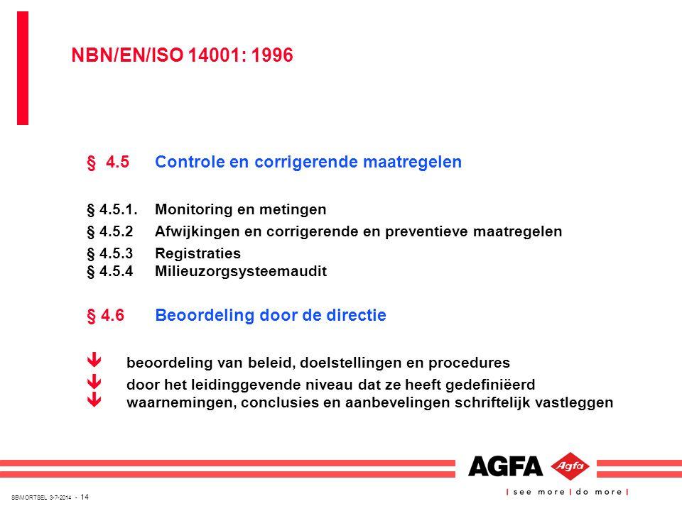 SB\MORTSEL 3-7-2014 - 14 § 4.5Controle en corrigerende maatregelen § 4.5.1.Monitoring en metingen § 4.5.2Afwijkingen en corrigerende en preventieve ma
