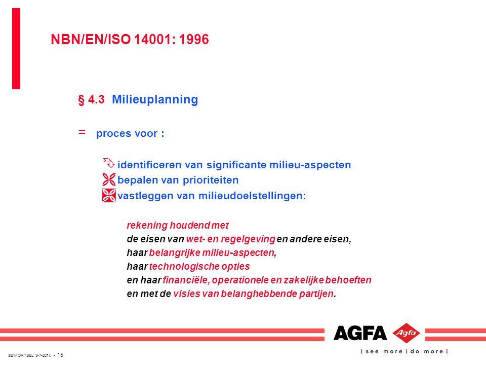 SB\MORTSEL 3-7-2014 - 15 § 4.3 Milieuplanning = proces voor : Ê identificeren van significante milieu-aspecten Ë bepalen van prioriteiten Ì vastleggen