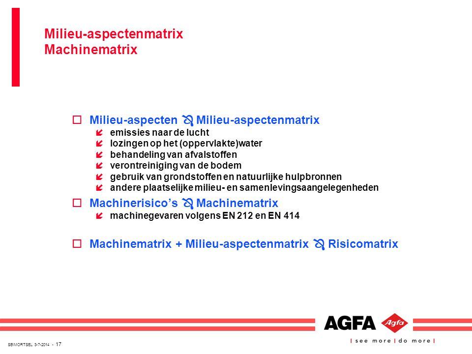 SB\MORTSEL 3-7-2014 - 17 oMilieu-aspecten  Milieu-aspectenmatrix íemissies naar de lucht ílozingen op het (oppervlakte)water íbehandeling van afvalst