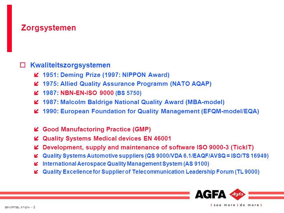 SB\MORTSEL 3-7-2014 - 2 oKwaliteitszorgsystemen í1951: Deming Prize (1997: NIPPON Award) í1975: Allied Quality Assurance Programm (NATO AQAP) í1987: N