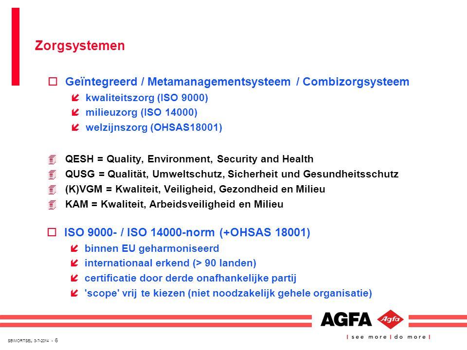 SB\MORTSEL 3-7-2014 - 6 oGeïntegreerd / Metamanagementsysteem / Combizorgsysteem íkwaliteitszorg (ISO 9000) ímilieuzorg (ISO 14000) íwelzijnszorg (OHS