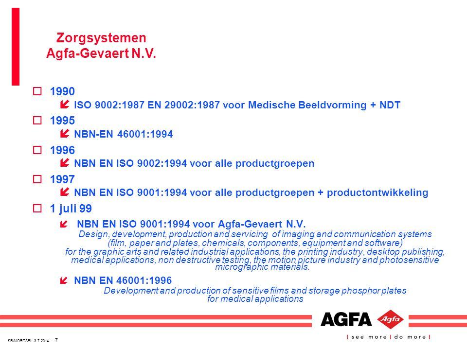 SB\MORTSEL 3-7-2014 - 7 o1990 í ISO 9002:1987 EN 29002:1987 voor Medische Beeldvorming + NDT o1995 í NBN-EN 46001:1994 o1996 í NBN EN ISO 9002:1994 vo