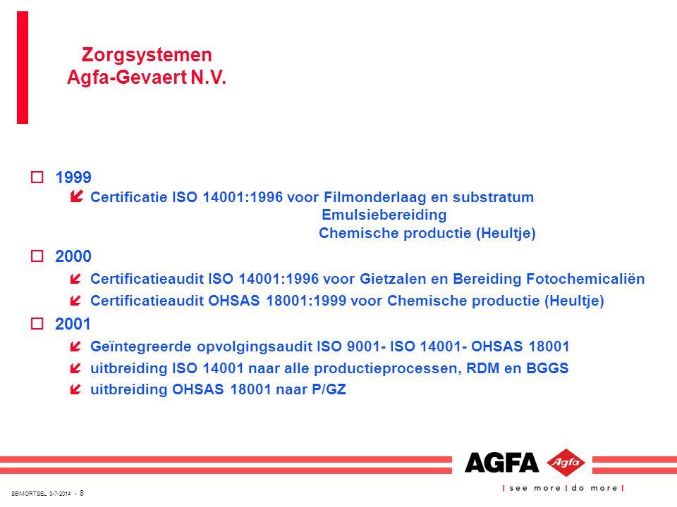SB\MORTSEL 3-7-2014 - 8 o1999 í Certificatie ISO 14001:1996 voor Filmonderlaag en substratum Emulsiebereiding Chemische productie (Heultje) o2000 íCer