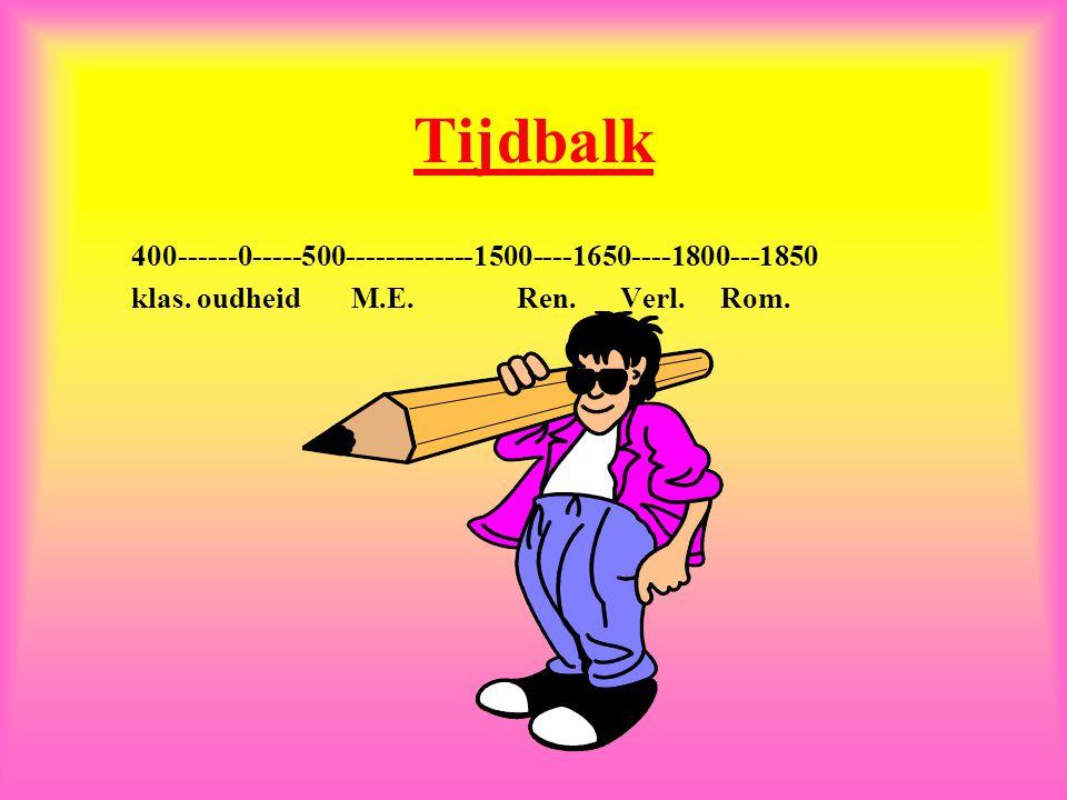 Tijdbalk 400------0-----500-------------1500----1650----1800---1850 klas.