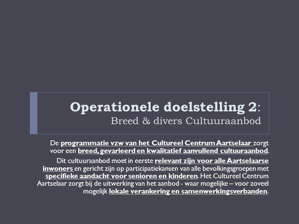 Operationele doelstelling 2 : Breed & divers Cultuuraanbod De programmatie vzw van het Cultureel Centrum Aartselaar zorgt voor een breed, gevarieerd e