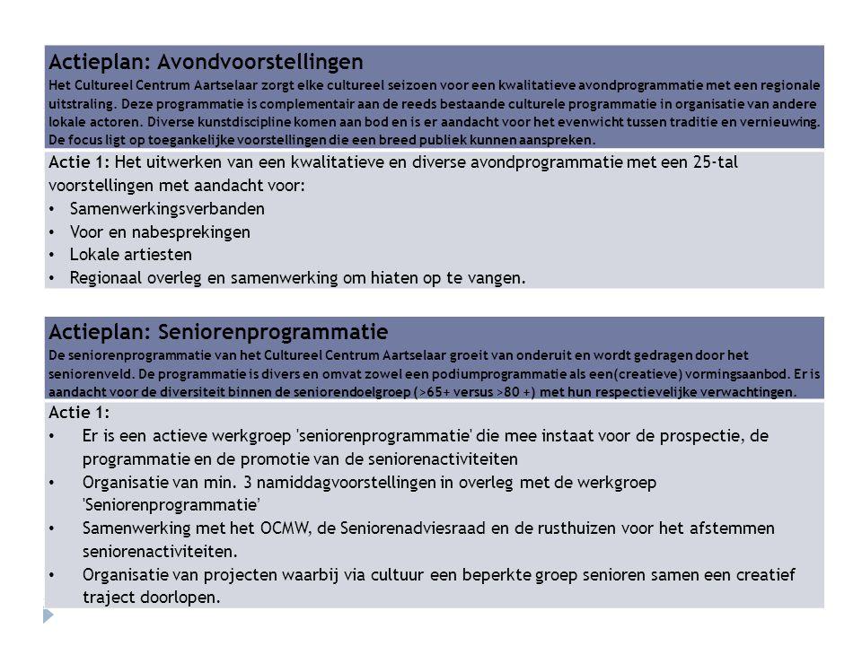 Actieplan: Avondvoorstellingen Het Cultureel Centrum Aartselaar zorgt elke cultureel seizoen voor een kwalitatieve avondprogrammatie met een regionale