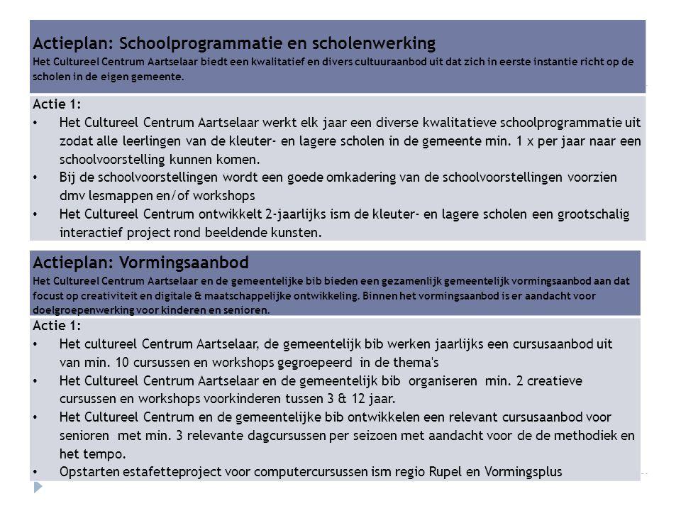 Actieplan: Vormingsaanbod Het Cultureel Centrum Aartselaar en de gemeentelijke bib bieden een gezamenlijk gemeentelijk vormingsaanbod aan dat focust o