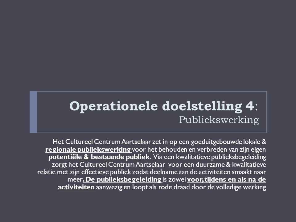 Operationele doelstelling 4 : Publiekswerking Het Cultureel Centrum Aartselaar zet in op een goeduitgebouwde lokale & regionale publiekswerking voor h