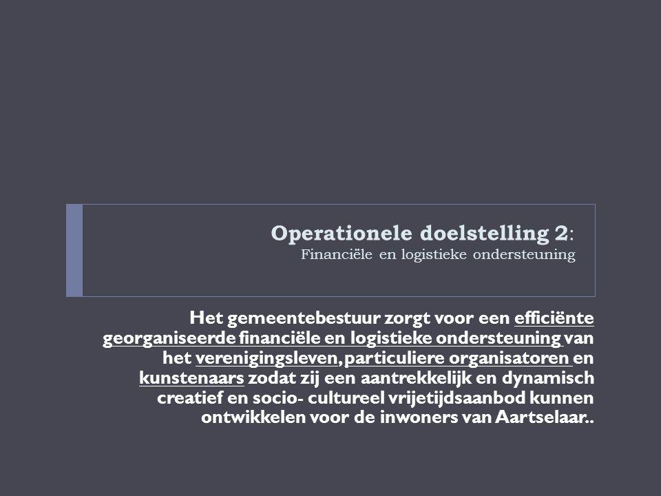 Operationele doelstelling 2 : Financiële en logistieke ondersteuning Het gemeentebestuur zorgt voor een efficiënte georganiseerde financiële en logist