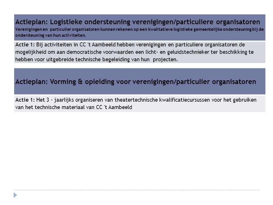 Actieplan: Logistieke ondersteuning verenigingen/particuliere organisatoren Verenigingen en particulier organisatoren kunnen rekenen op een kwalitatie