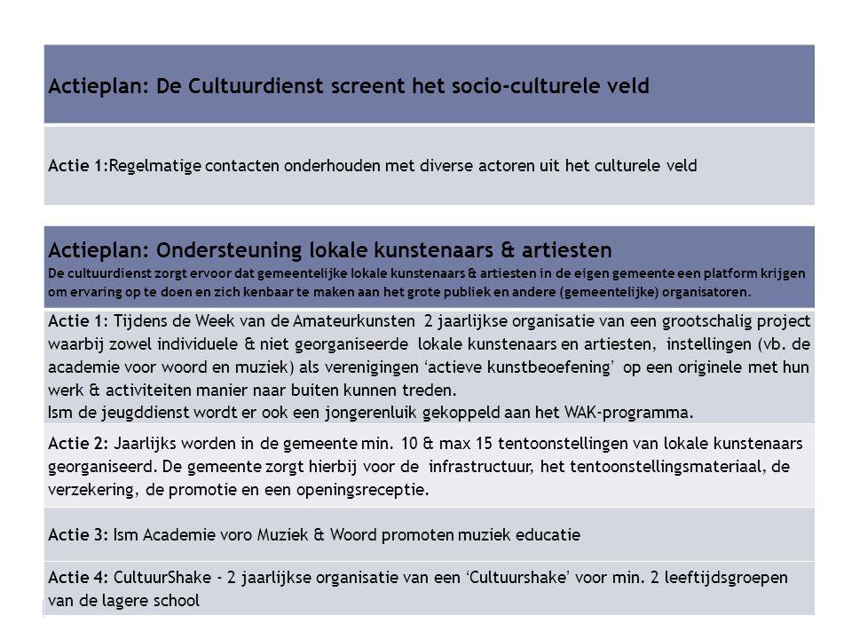 Actieplan: De Cultuurdienst screent het socio-culturele veld Actie 1:Regelmatige contacten onderhouden met diverse actoren uit het culturele veld Acti