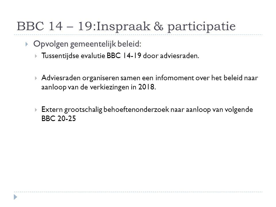 BBC 14 – 19:Inspraak & participatie  Opvolgen gemeentelijk beleid:  Tussentijdse evalutie BBC 14-19 door adviesraden.  Adviesraden organiseren same