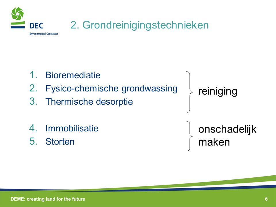 6 2.Grondreinigingstechnieken 1. Bioremediatie 2.