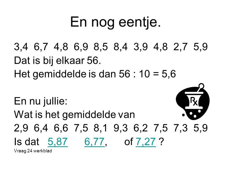 En nog eentje. 3,4 6,7 4,8 6,9 8,5 8,4 3,9 4,8 2,7 5,9 Dat is bij elkaar 56. Het gemiddelde is dan 56 : 10 = 5,6 En nu jullie: Wat is het gemiddelde v