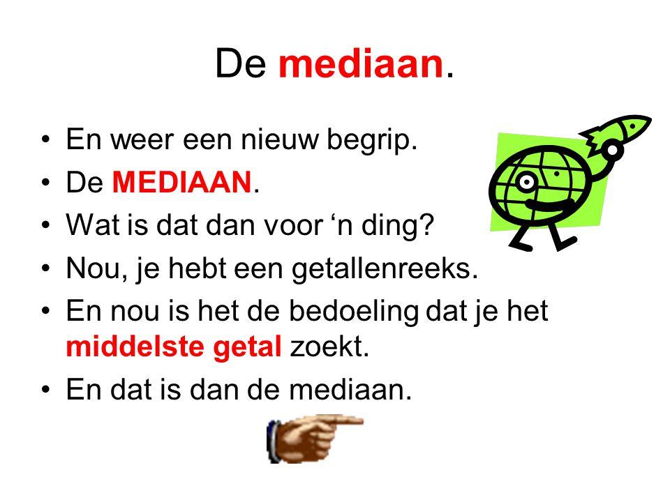 De mediaan.•En weer een nieuw begrip. •De MEDIAAN.