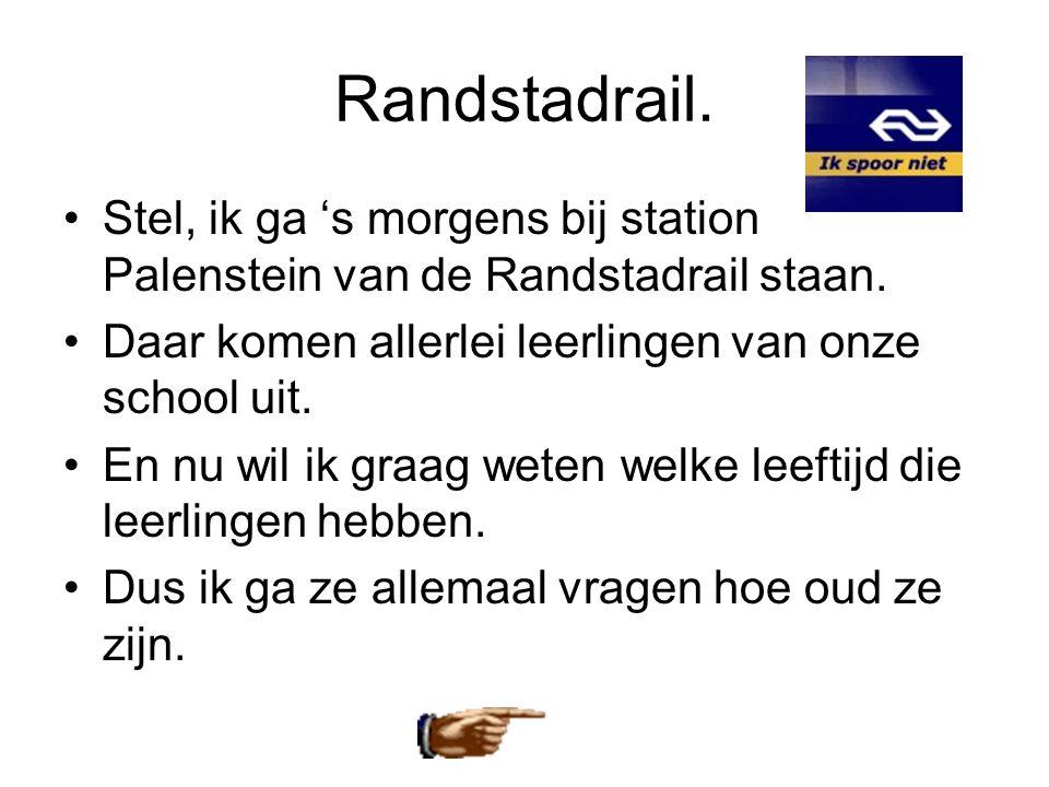 Randstadrail. •Stel, ik ga 's morgens bij station Palenstein van de Randstadrail staan. •Daar komen allerlei leerlingen van onze school uit. •En nu wi