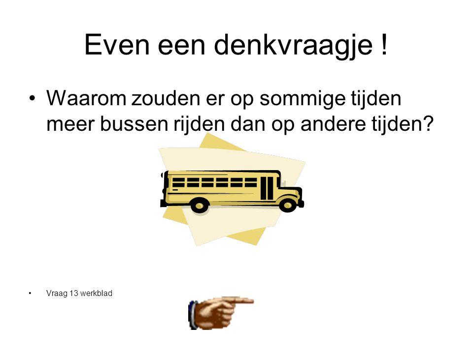 Even een denkvraagje ! •Waarom zouden er op sommige tijden meer bussen rijden dan op andere tijden? •Vraag 13 werkblad