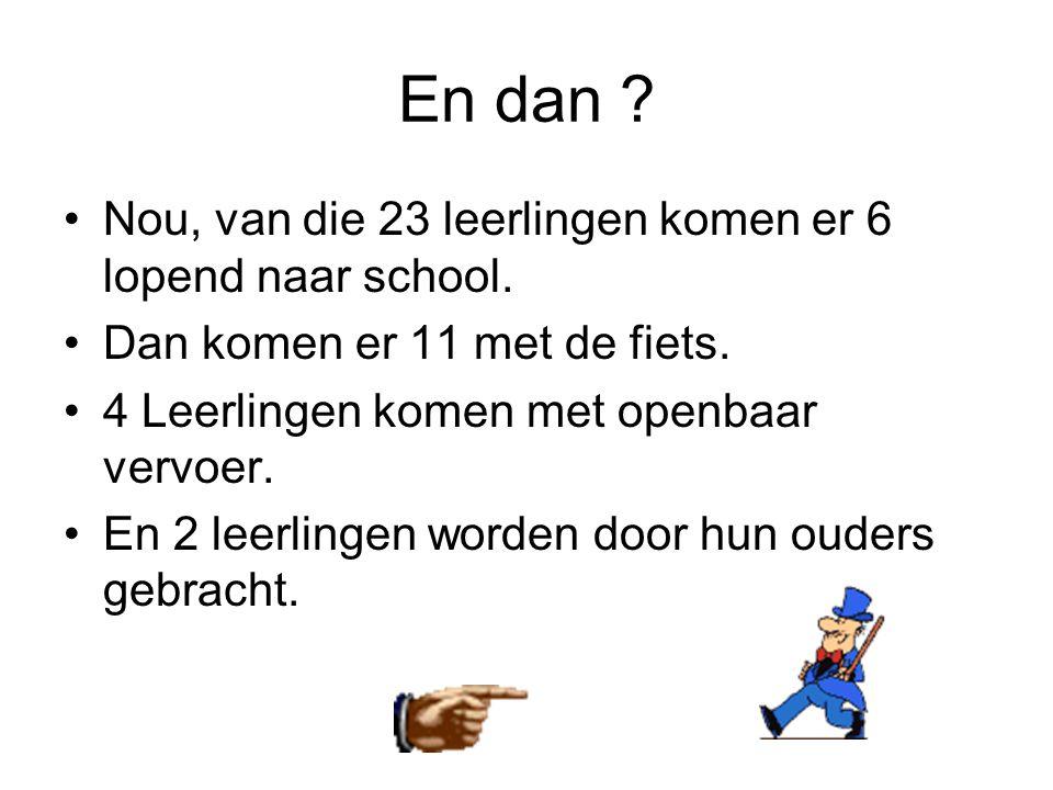 En dan ? •Nou, van die 23 leerlingen komen er 6 lopend naar school. •Dan komen er 11 met de fiets. •4 Leerlingen komen met openbaar vervoer. •En 2 lee