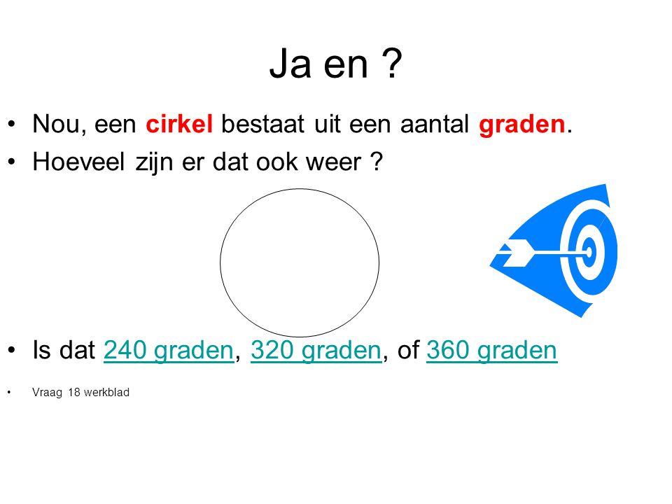 Ja en ? •Nou, een cirkel bestaat uit een aantal graden. •Hoeveel zijn er dat ook weer ? •Is dat 240 graden, 320 graden, of 360 graden240 graden320 gra